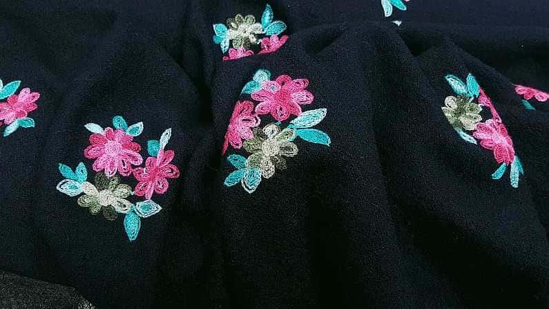 κεντημένα μάλλινα υφάσματα χρώμα μπλέ
