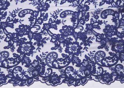 Δαντέλα κορδονέ μπλε ρουά με διπλό τελείωμα