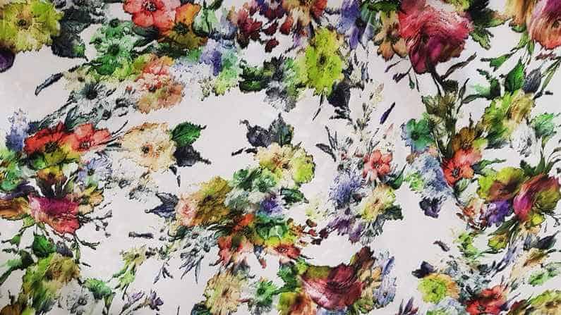 Βισκόζι εμπριμέ ψηφιακής εκτύπωσης σε φούξ λιλά και πράσινο χρώμα